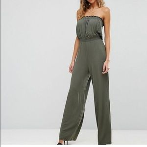 Asos Bandeau Jersey Jumpsuit With Wide Leg Khaki 6